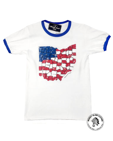American Ohio - Unisex Ringer - Whiskey Island Clothing