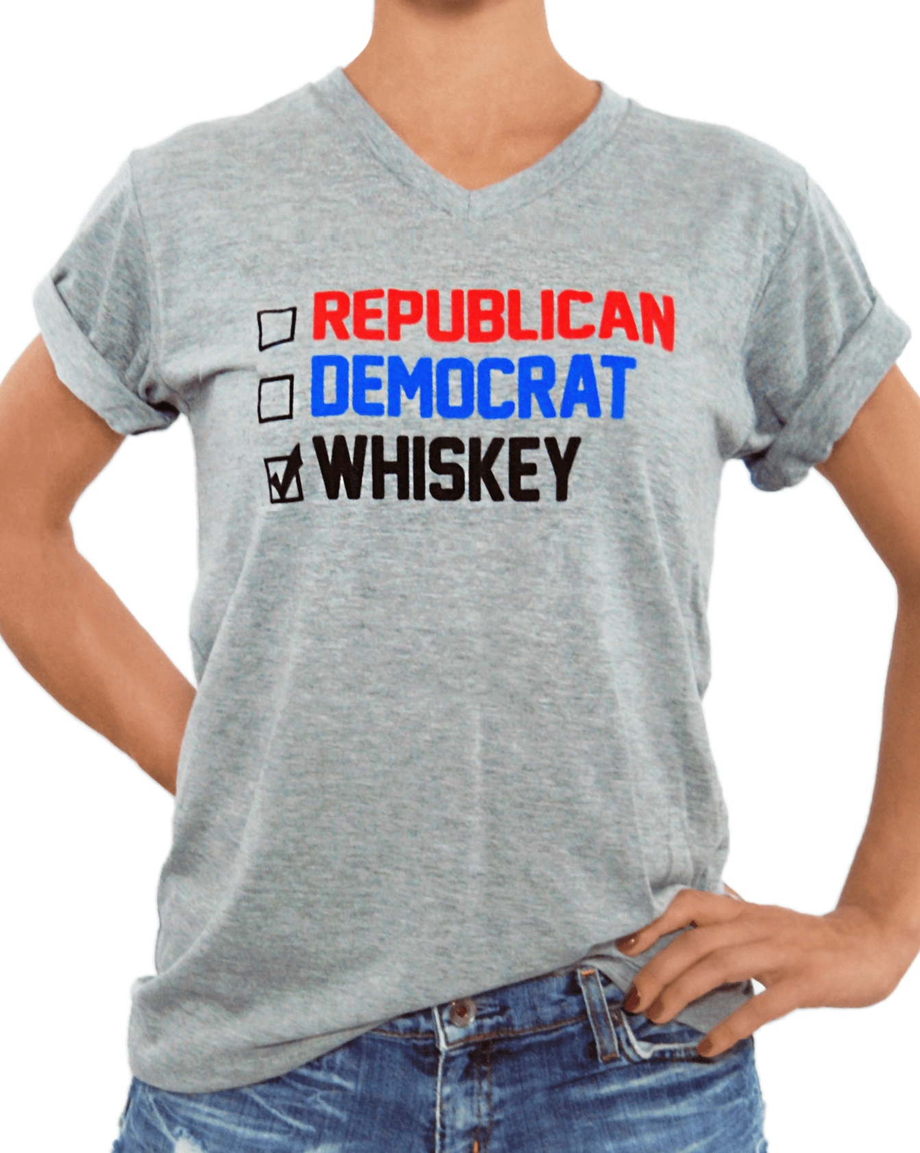 VOTE Whiskey - Unisex V-Neck Crew - Grey - Whiskey Island Clothing