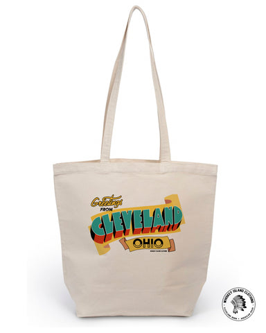 Greetings From Cleveland Market Tote - Whiskey Island Clothing