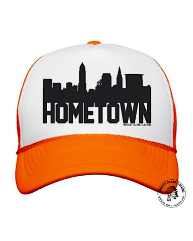 Cleveland Skyline Hometown Orange Snapback Trucker - Whiskey Island Clothing