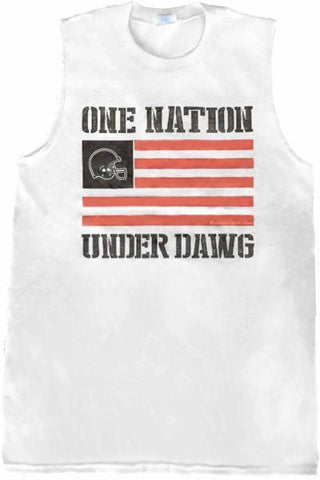 One Nation - Muscle Tee - White - Whiskey Island Clothing