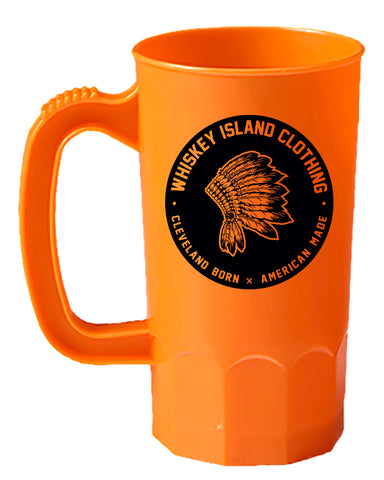 Whiskey Island Bright Orange Tailgate Mug