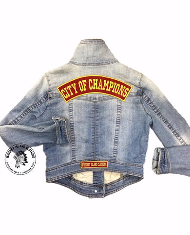 City of Champions Cropped Denim Rocker Jacket - Whiskey Island Clothing