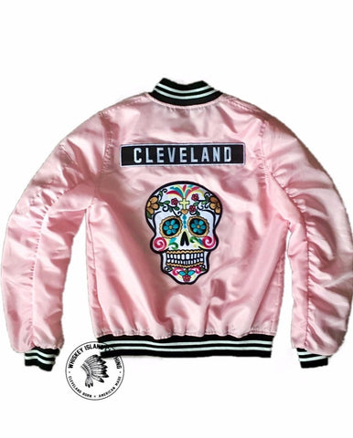 Women's Cleveland Sugar Skull Varsity Zip Up Bomber Jacket - Whiskey Island Clothing
