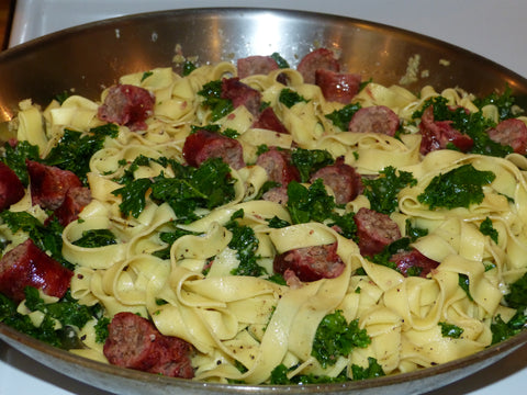 Pasta with kale and sausage