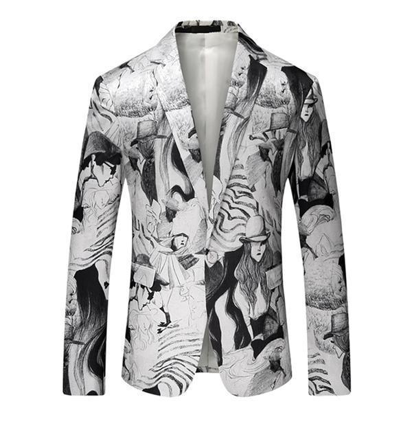 3D Print Men's Blazers Black and White-Blazer-LeStyleParfait.Com