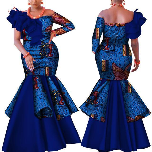 African Dress, Blue Dashiki Dress-Dress-LeStyleParfait.Com