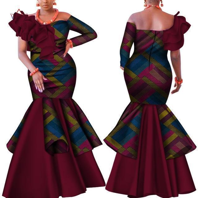 African Dress, Burgundy Dashiki Dress-Dress-LeStyleParfait.Com