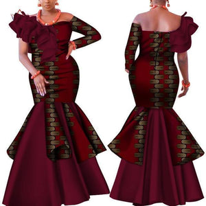African Dress, Maroon Dashiki Dress-Dress-LeStyleParfait.Com
