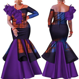 African Dress, Purple African Party Dress-Dress-LeStyleParfait.Com