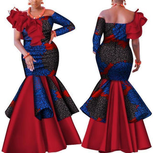 African Dress Red With Blue Prints-Dress-LeStyleParfait.Com