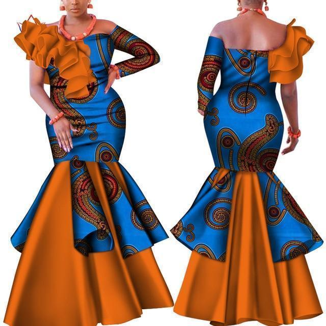 African Dress With Blue Prints-Dress-LeStyleParfait.Com