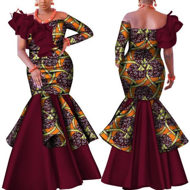 African Dress With Brown Prints-Dress-LeStyleParfait.Com