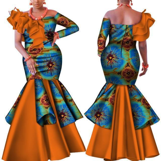 African Party Dress, Slash Neck Dress-Dress-LeStyleParfait.Com