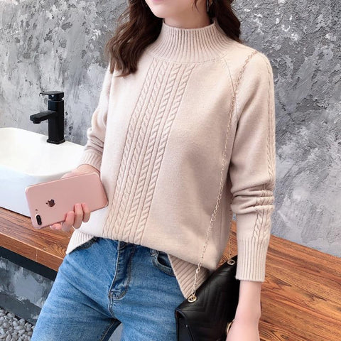 Alligned Women's Turtleneck Sweater - Sweaters Online-LeStyleParfait.Com