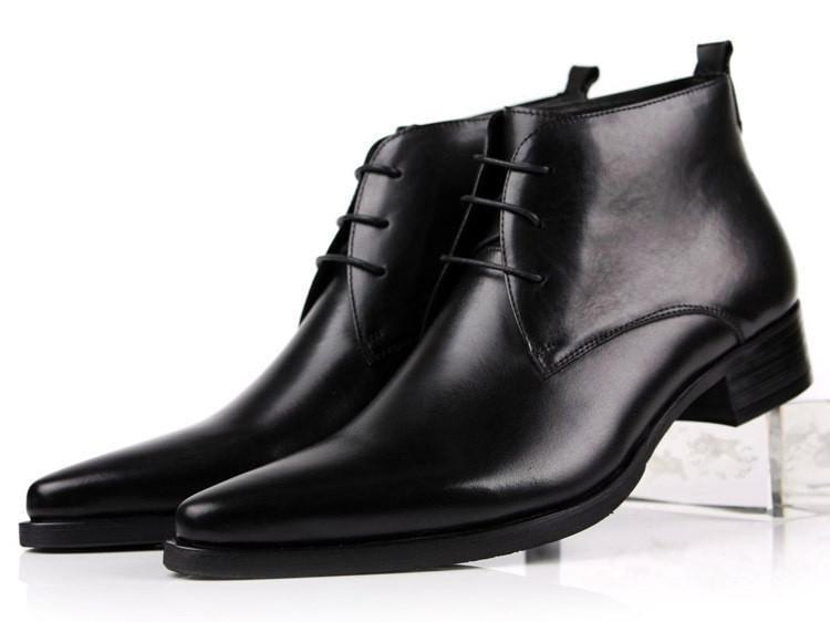 Ankle Boots For Men Pointed Toe Mens Dress Shoes Genuine Leather Business Shoes-Shoes-LeStyleParfait.Com
