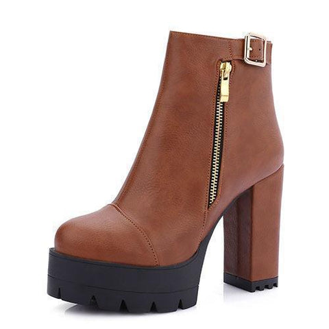 Ankle Boots Women's High Heel Shoes Motorcycle Boots Platform Shoes-Shoes-LeStyleParfait.Com