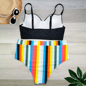 Beach Days Striped Bikini Set-Swimwear-LeStyleParfait.Com