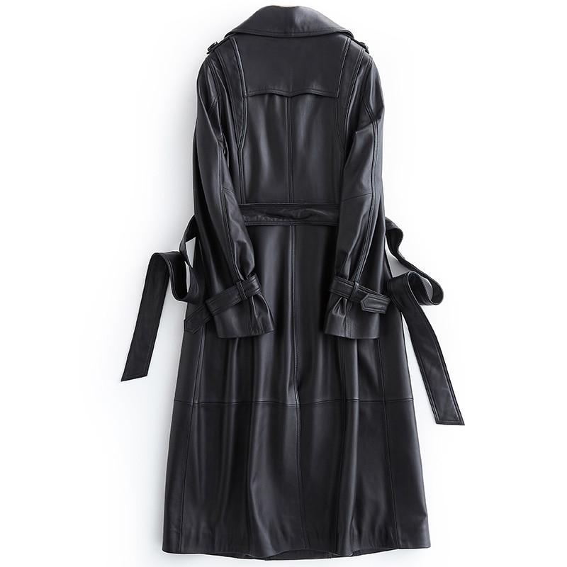 Black Lapel Leather Trench Coat For Women-Coat-LeStyleParfait.Com