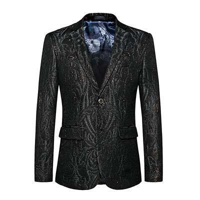 Black Sequin Blazers Mens Slim Fit Fashion Brand Blazer-Blazer-LeStyleParfait.Com