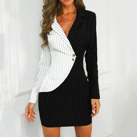 Blazer Dress, Striped Bodycon Women Blazer Dress-Dress-LeStyleParfait.Com
