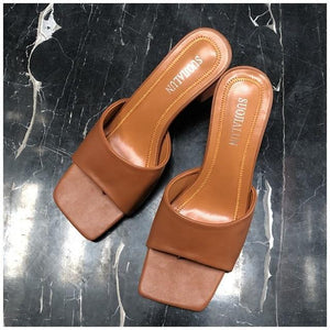 Block-Heeled Slide Sandals-Shoes-LeStyleParfait.Com