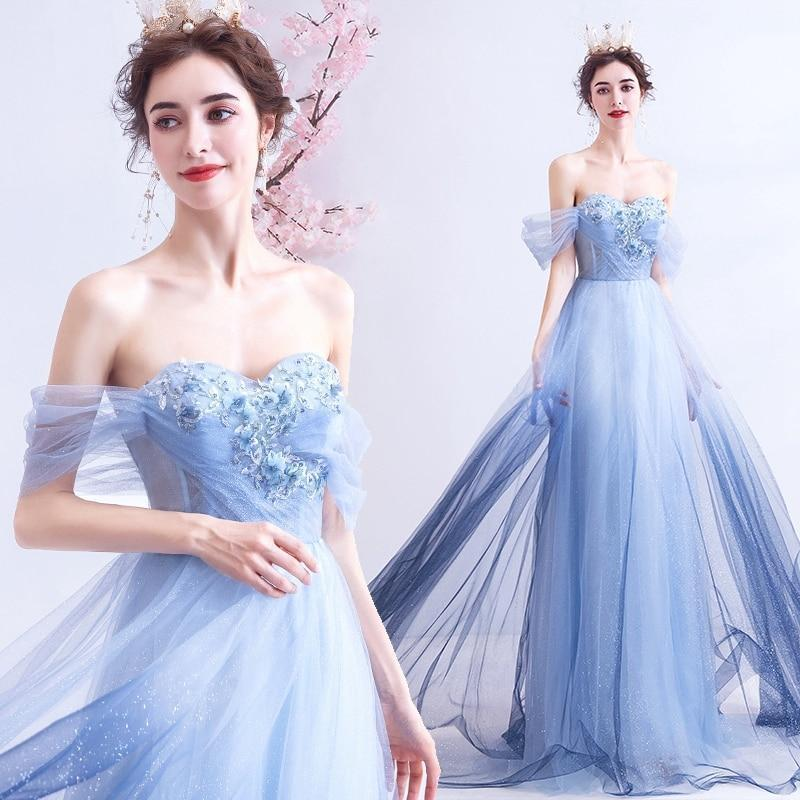 Blue Prom Dress, Long Lace Evening Dress-Dress-LeStyleParfait.Com