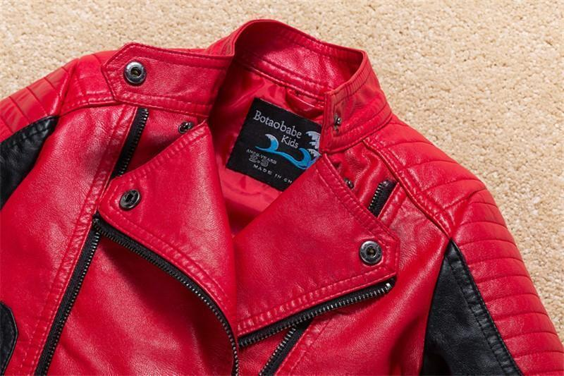 Boys Leather Jackets, Casual PU Leather Jacket, Boys 1-12 Yrs Old-Kids Jackets-LeStyleParfait.Com
