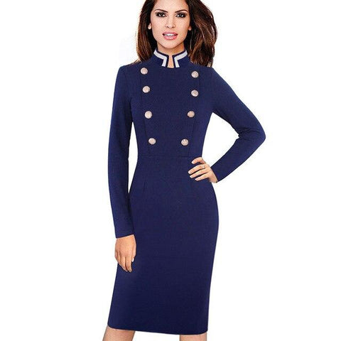 Buckingham Ceremonial Bodycon Dress-Dress-Online-USA-UK-AU-LeStyleParfait.Com-Dark Blue-L