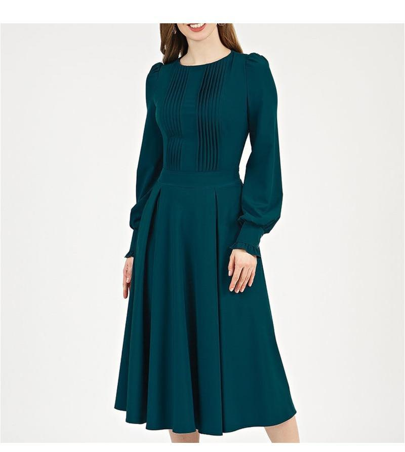 Cambrige Pleated Vintage Dress-Dress-Online-USA-UK-AU-LeStyleParfait.Com-XL-Green