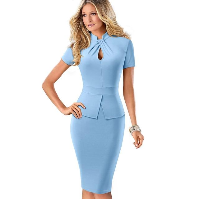 Cameron Office Lady Bodycon Dress-Dress-Online-USA-UK-AU-LeStyleParfait.Com-Sky Blue-XXL