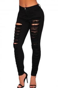 Casual Black Destroyed Skinny Jeans, Pencil Ripped Jeans, Women Jeans-Women Pants-LeStyleParfait.Com