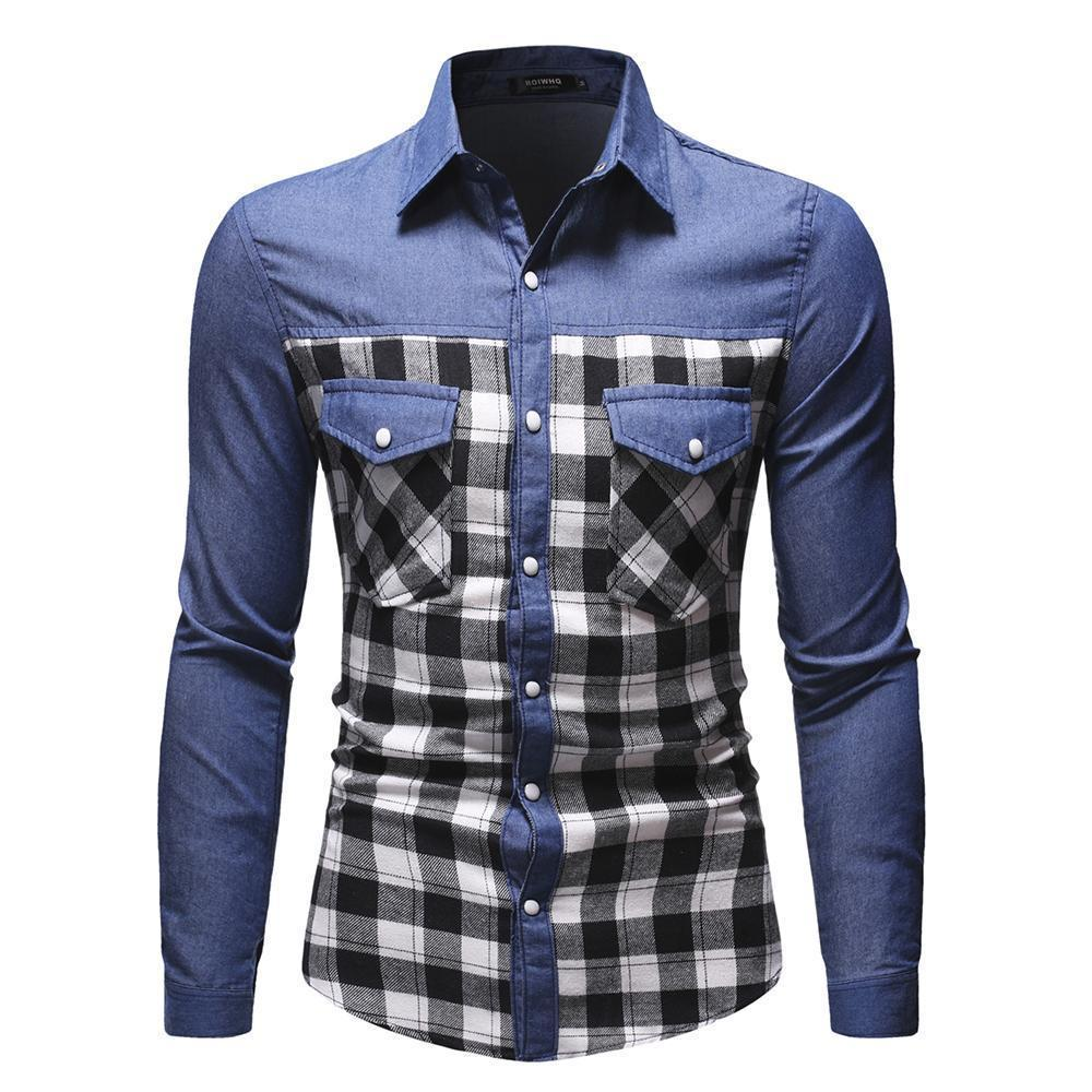 Casual Denim Shirt For Men, Plaid Shirt With Pockets-Shirt-LeStyleParfait.Com