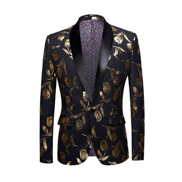 Casual Men's Blazer Gold Print Party Blazer-Blazer-LeStyleParfait.Com