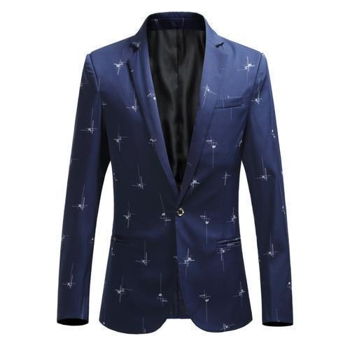 Casual Men's Blazer With White Prints-Blazer-LeStyleParfait.Com