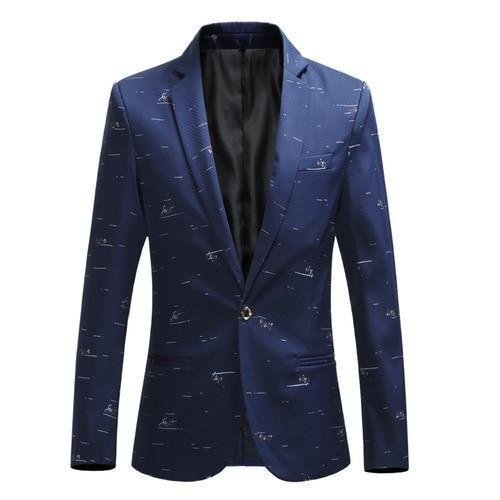 Casual Men's Blazer With White Prints, Slim Fit-Blazer-LeStyleParfait.Com