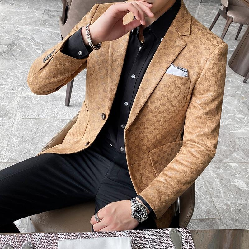 Casual Style Men's Blazer - Men's Casual Blazer-Blazer-Light Brown-M-LeStyleParfait.Com