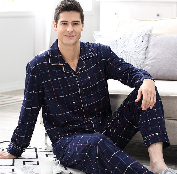 Check All Boxes Plaid Pyjama Set-Men's Sleepwear-LeStyleParfait.Com