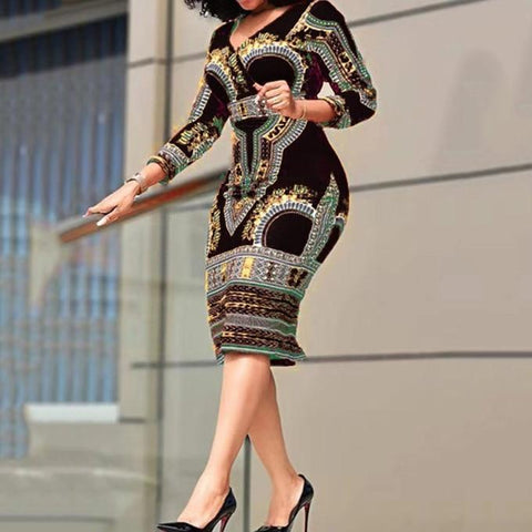 Chioma Bodycon African Print Dress-Dress-LeStyleParfait.Com
