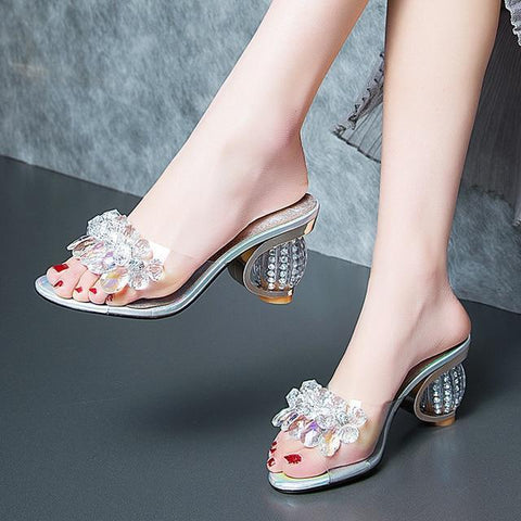 Clear Open-Toe Heeled Slide Sandals-Shoes-LeStyleParfait.Com