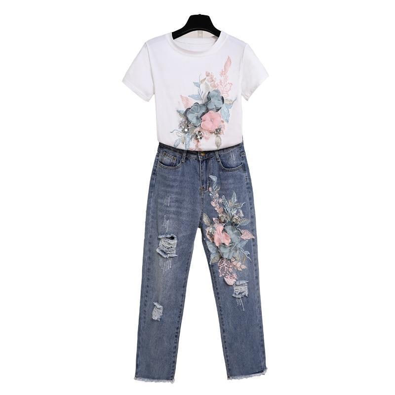 Clothing Set - Embroidered Flower T Shirts, Jeans-Tracksuit-LeStyleParfait.Com