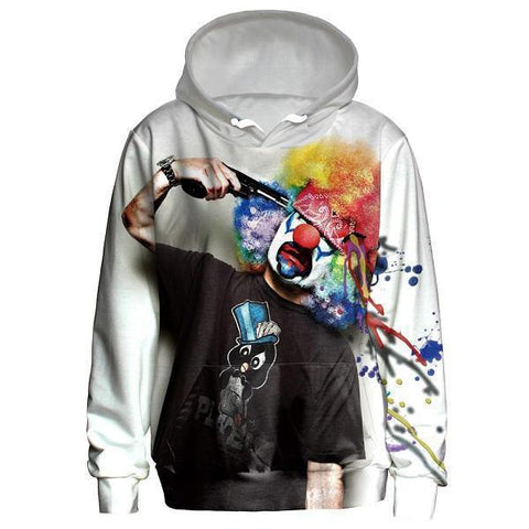 Clown With Hat 3D Hoodie UNISEX-Hoodies-Sweatshirts-Online-L-White Black-LeStyleParfait.Com