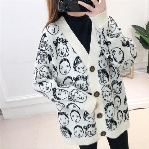 Comic V-Neck Cardigan Sweater For Women-Sweater-LeStyleParfait.Com