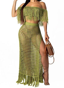 Crochet Tassel 2-Piece Beach Cover Ups-Swimwear-LeStyleParfait.Com