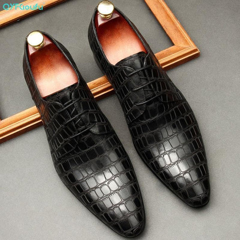 Crocodile Pattern Leather Dress Shoes For Men-Online-LeStyleParfait.Com