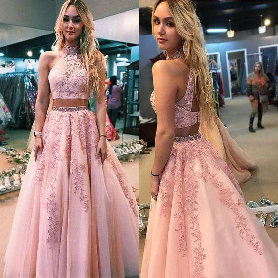 Crop Top Two-Piece Prom Dress-Dress-LeStyleParfait.Com