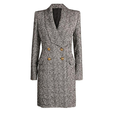 Designer herringbone Coat For Women - Winter Coats Women-Coat-S-Black & White-LeStyleParfait.Com