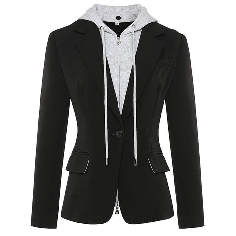 Detachable Hooded Blazer For Women Blazer LeStyleParfait.Com Black S