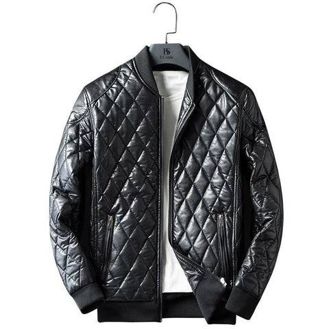 Diamond Trim Leather Bomber Jacket-Jacket-LeStyleParfait.Com