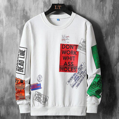 """Don't Work Whit"" Graffiti Sweatshirt For Men-Sweatshirt- Autumn, Clothing, Fall, Graffiti, Hip Hop, Men, Men's, Oversized, Plus Size, Sweatshirt, Winter-LeStyleParfait.Com"